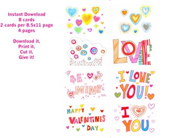 8 Valentine's Day Cards! - notecard - instant download - printable
