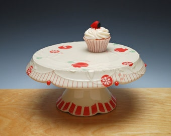 Ivory Cake Stand (Large) w. Cherry red polka dots and stripes, Victorian modern floral