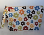 Rustic Daisy Print Knitting Project Bag