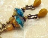 Bohemian Earrings, Handmade, Chic, Rustic, Boho Jewelry, Mustard Yellow and Aqua Blue Glass, Brass, Neo Victorian, American Made