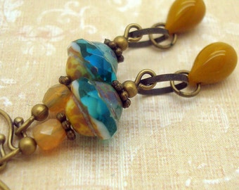 Bohemian Earrings with Mustard Yellow and Aqua Blue Glass Beads