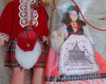 Lot of 3 Three National costume dolls Scotland Rome Italy dolls lot vintage doll dolls