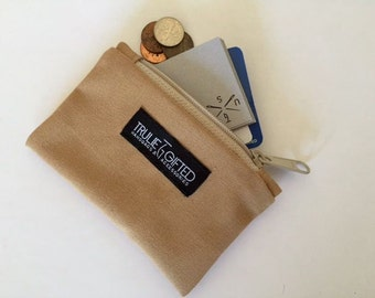 Coin Purse and Zipper Pouch in Tan