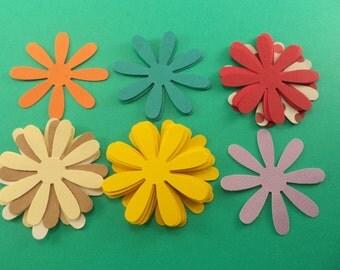 Paper Flowers, Paper Punched Flowers, Scrapbook Supplies, Card Making Embellishments, Red Flowers, Orange Flower, Kraft Flower