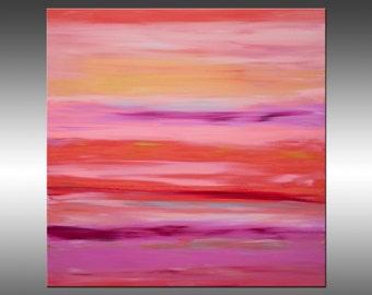 Sunrise 39 - Original Abstract Painting, Contemporary Art Abstract Painting Large Wall Art Painting Canvas Art Modern Art, Pink, Orange,
