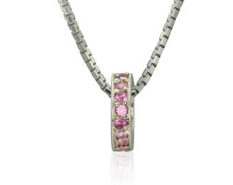 Pink Sapphire 18k Birthstone Pendant, Breast Cancer Awareness Month, October Birthstone Jewelry, Bridesmaids Wedding Gift - LS3001