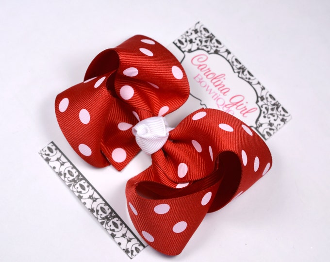 Red Polka Dot  Boutique Hair Bow ~ 4 in. Bow ~Big Hair Bows ~  Girl Hair Bows ~ Christmas Hair Bow ~ Valentines Bow