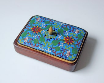 A small old rectangular Chinese cloisonne wood box with brass trimmed lidded cover