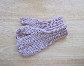Child Medium Mittens Wool Hand Knit Dusty Rose