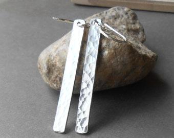 Hammered Silver Bar Earrings, Sterling Silver Dangle Earrings, Minimalist Jewelry