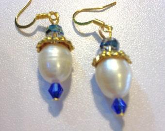 Pearl Earrings Blue Crystals