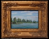 Original oil painting -- TREES at THE RIVER -- 4 inch by 6 inch landscape, by Diana Moses Botkin