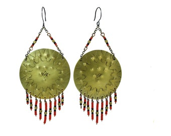 Hand stamped & oxidized brass earrings with seed bead dangles