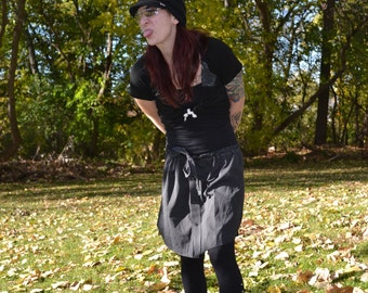 Upcycled Mens Dress Shirt Skirt-Black and White Striped-One Size Fits Many