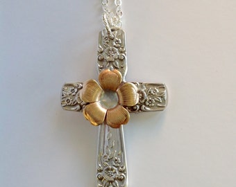 Flower spoon handle cross pendant