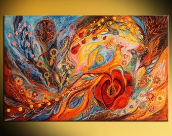"""Jewish art hand embellished canvas print painting Hebrew words """"Rose of East"""" with traditional Judaica attributes, orange trees flowers keys"""