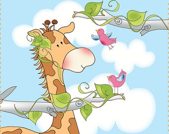 "4"" Giraffe and Friends Fabric Art Panel"