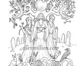 Maiden, Mother, Crone Digi Stamp Digital Coloring Page for adults - for scrapbooking or cards or coloring