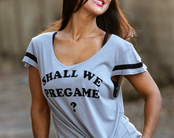 Shall We Pregame?  Wide Shouldered Flutter Sleeve Flowy Muscle Tee.  Sport Striped Off Shoulder Tee.  Attitude Tee.  Sporty Tee.  USA Made.