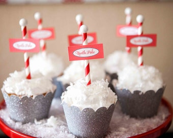 North Pole Printable Cupcake Flags - INSTANT DOWNLOAD