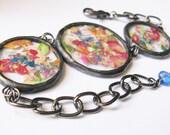flower petal bracelet - statement bracelet - real flower bracelet - pressed flower jewelry - rainbow necklace