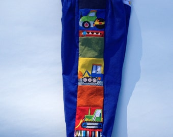 SAMPLE SALE!..2T...Ready to Ship!...Construction Vehicles...Patchwork and Corduroy Pants..Toddler 2 t...Work Trucks