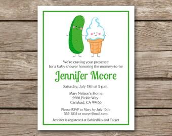 PRINTABLE Ice Cream And Pickles Invitation, Pickles And Ice Cream Invitation, Icecream And Pickles, Baby Shower Invitation