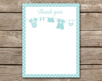 PRINTABLE Boy Baby Shower Thank You Cards, Baby Clothesline Thank You, Baby Laundry Thank You, INSTANT DOWNLOAD