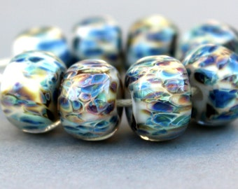 Borosilicate Glass Beads - Boro Beads - White, Blue and Army Green
