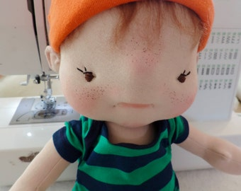 Gus a One of a Kind Soft Sculpture Baby Doll by BeBe Babies Waldorf Inspired Doll