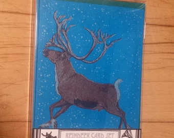 Reindeer Boxed Set of 6 Letterpress Printed Cards