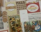 SALE Fall Harvest Journal Supplies ~ Thanksgiving ~ paper ephemera ~ old postcard ~ tags ~ autumn ~ ribbon~ give~ anagrams~ vintage ~ 70 pcs