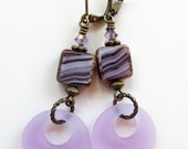 Purple Sea Glass and Square Czech Glass Beaded Dangle Antiqued Brass Earrings