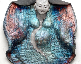Laughing Smiling Buddha Wall Art Sculpture Blue Copper Red Raku Ceramics