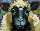 Sheep painting 20 12x12 inch original oil painting by Roz