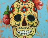 Sugar Skull 2  12x12 inch original oil painting by Roz