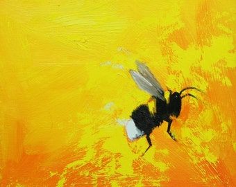 Bee painting 376 12x12 inch insect animal portrait original oil painting by Roz