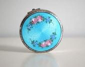 1920s Art Deco Guilloche Compact Pastel Turquoise Enamel Pink Flower Vintage Dance Compact Vanity Makeup Mirror Boudoir Hudnut Cosmetic Case