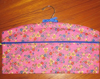 Japanese Butterflies and Floral Design Closet Hanger Organizer Quilted Fabric Deep Pink