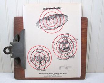 "Vintage Space Aliens Paper Shooting Target 8.5"" x 11"" UFO Illustration"