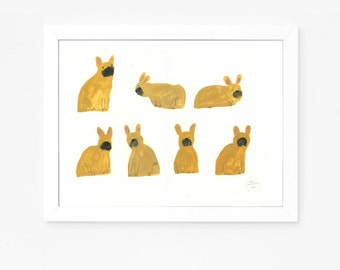 A Crowd of Frenchies no. 2 - Original french bulldog painting on paper