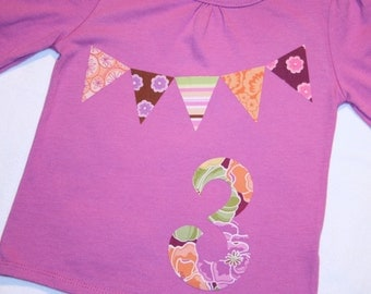 Girls 3rd Birthday Shirt - size 3 long sleeve number 3 and bunting in purple pink orange green pastels