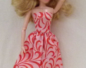 "Peach Handmade 11.5"" Fashion Doll Dress"