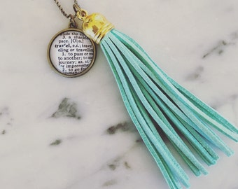 Custom Definition Tassel Necklace - You Pick Word - Personalized Brass Dictionary Jewelry - Vintage Dictionary - Bibliophile