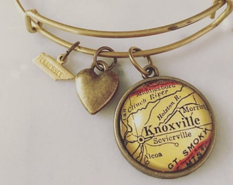 Knoxville Map Charm Bangle Bracelet - Personalized Map Jewelry - Stacked Bangle - Tennessee - Volunteers - Smoky Mountains - Sevierville