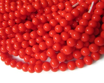 6mm Round Beads Red Plastic Beads Vintage Beads 31 Inch Full Strand Loose Beads Beading Supplies Jewelry Making Ball Beads