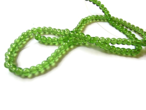 4mm Lime Green Beads Crackle Glass Beads Smooth Round