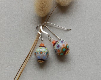 Mumbai earrings - Lampwork jewelry by Loupiac