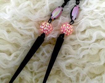 Black Magic Jena Earrings dazzling jawbreaker rhinestone covered beads metal spike dark beauty gothic lolita