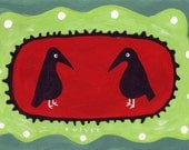2 Crows Art Painting  - Whimsical Red, Teal and Green Folk Art 5x7 Raven